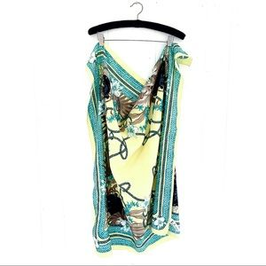 H&M Square Patterned Panther Scarf Yellow/green OS